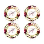 Burgundy, cream, white, gold watercolor flowers and feathers monogrammed wedding envelope seals for elegant bohemian wedding.