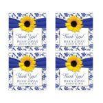 Two inch square personalized yellow sunflower royal blue damask and ribbon wedding thank you favor stickers