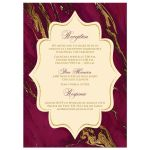 Burgundy, ivory cream, and gold simulated marble wedding invitation.