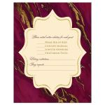 Monogram burgundy, ivory cream, and gold simulated marble wedding RSVP enclosure cards.