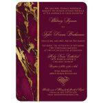 Burgundy, ivory, and gold simulated marble wedding invitation with ornate heart scroll ornament.