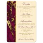 Burgundy wine, ivory, and gold simulated marble wedding invitation with ornate heart scroll ornament.