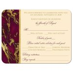 Burgundy wine, cream, and gold simulated marble wedding RSVP enclosure cards with ornate heart scroll ornament.