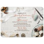 Beautiful seamstress sewing themed retirement party invitation