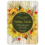 Gold Dust Rustic Sunflower Bridal Invitation