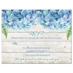Rustic blue hydrangea flower wedding RSVP card front
