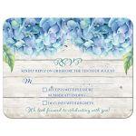 Rustic blue hydrangea flower wedding RSVP card front