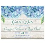 Rustic blue hydrangea flower wedding save the date announcement front