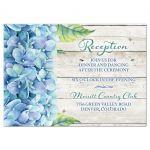 Rustic blue hydrangea flower wedding reception insert card front