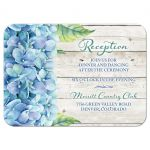 Rustic blue hydrangea flower wedding reception insert card front