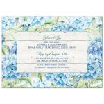 Rustic blue hydrangea flower 80th birthday invitation for an adult woman back