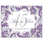 Purple, silver, grey, and white winter Quinceañera invitation with snowflakes and glitter.