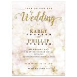 Gold Bokeh Marble Wedding Invitation