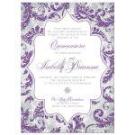 Purple, silver, grey, and white winter Quinceañera invitation with snowflakes and glitter.