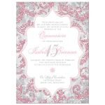 Blush pink, silver, gray, grey, and white winter sparkles Quinceañera invitation with snowflakes and glitter.