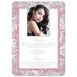 Blush pink, silver, grey, and white winter sparkles Quinceañera invitation with snowflakes and glitter.