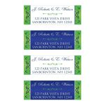 Personalized royal blue, lime green, and white floral return address mailing labels with a decorative ornate green scroll.