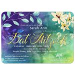 Nature Themed Watercolor Bat Mitzvah Invitation |