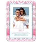 Christian wedding invites in pink, aqua blue, white damask with ribbon, bow, jewels, Cross and Bible verse.