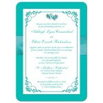 Aqua-marine, turquoise or teal and white floral wedding invite with joined jewel and glitter hearts brooch, ribbon and ornate scroll.