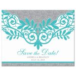 Elegant turquoise and silver grey lace wedding save the date postcard front
