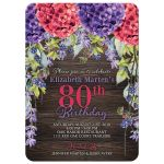 Rustic burgundy purple hydrangea lavender 80th birthday invitation front