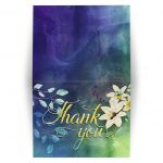 Floral Nature themed Blue Green Watercolour Thank You A2 Folded