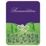Purple and lime green wedding accommodations enclosure card insert with flowers, ribbon, bow, jewels, glitter, joined hearts, flourishes and white accents.