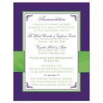 Purple and chartreuse green wedding accommodations enclosure card insert with flowers, ribbon, bow, jewels, glitter, joined hearts, flourishes and white accents.