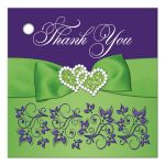 "Personalized purple, lime green, and white floral 2.5"" square wedding favor tag with ribbon, bow, jewels, glitter, and flowers."