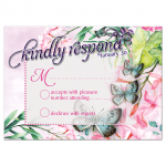 Watercolor RSVP Card - Butterflies and Flower design