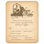 Unique medieval castle fairy tale wedding meal choice RSVP reply card front