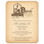 Unique medieval castle fairy tale wedding details enclosure card front