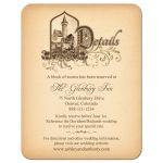 Unique medieval castle fairy tale wedding details enclosure card front