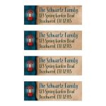 Personalized camping, fishing, outdoor tenting bar Mitzvah return address labels in blue plaid with a red lantern.