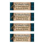 Personalized camping, fishing, outdoor tenting bar Mitzvah return address labels in blue plaid with a raccoon.