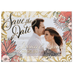 Gold Coral Save the Date Card Photo template
