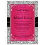 Hot pink, black and silver floral sweet sixteen or Quinceanera invites.
