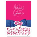 Fuchsia pink, royal blue, and white floral wedding invitation.