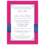 Hot pink, royal blue, and white floral wedding invitation.