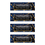 Geometric Royal Blue Gold Stars Address Labels