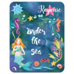Blue, purple, pink, and green Under the Sea Bat Mitzvah or Birthday RSVP enclosure card inserts with mermaids, seashorses, starfish, sea shells and coral.