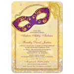 Magical masquerade ball wedding invitation in gold, royal purple, and red front
