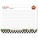 Retro Italian kitchen themed bridal shower recipe card featuring red tomato and pepper back