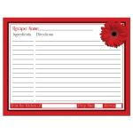 Black and white polka dot red gerbera daisy bridal shower recipe card back
