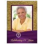 Purple and gold floral 75th milestone birthday invitation with photo template.