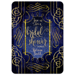 Bridal Shower Invitation - Stylish Glam Royal Blue and Gold