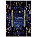 Bridal Shower Invitation - Stylish Glam Royal Blue and Gold  (side 2)