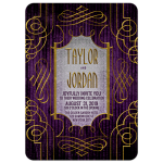 Plum Purple and Gold Wedding Invitations