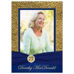 Royal blue, navy blue and gold floral 75th milestone birthday invite with photo template.